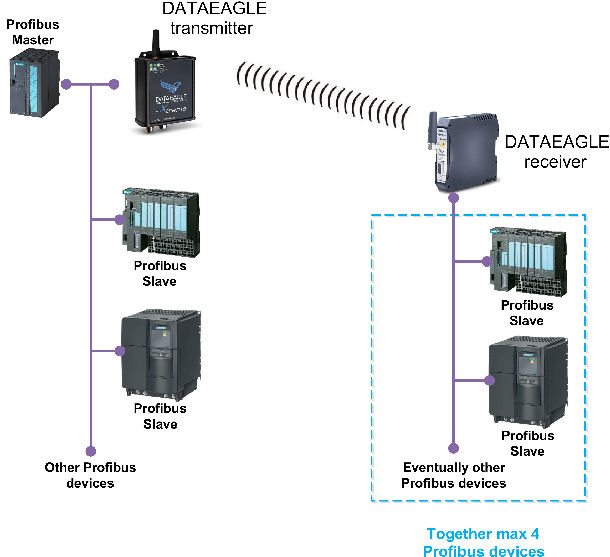 Point to point topology of DATAEAGLE Profibus