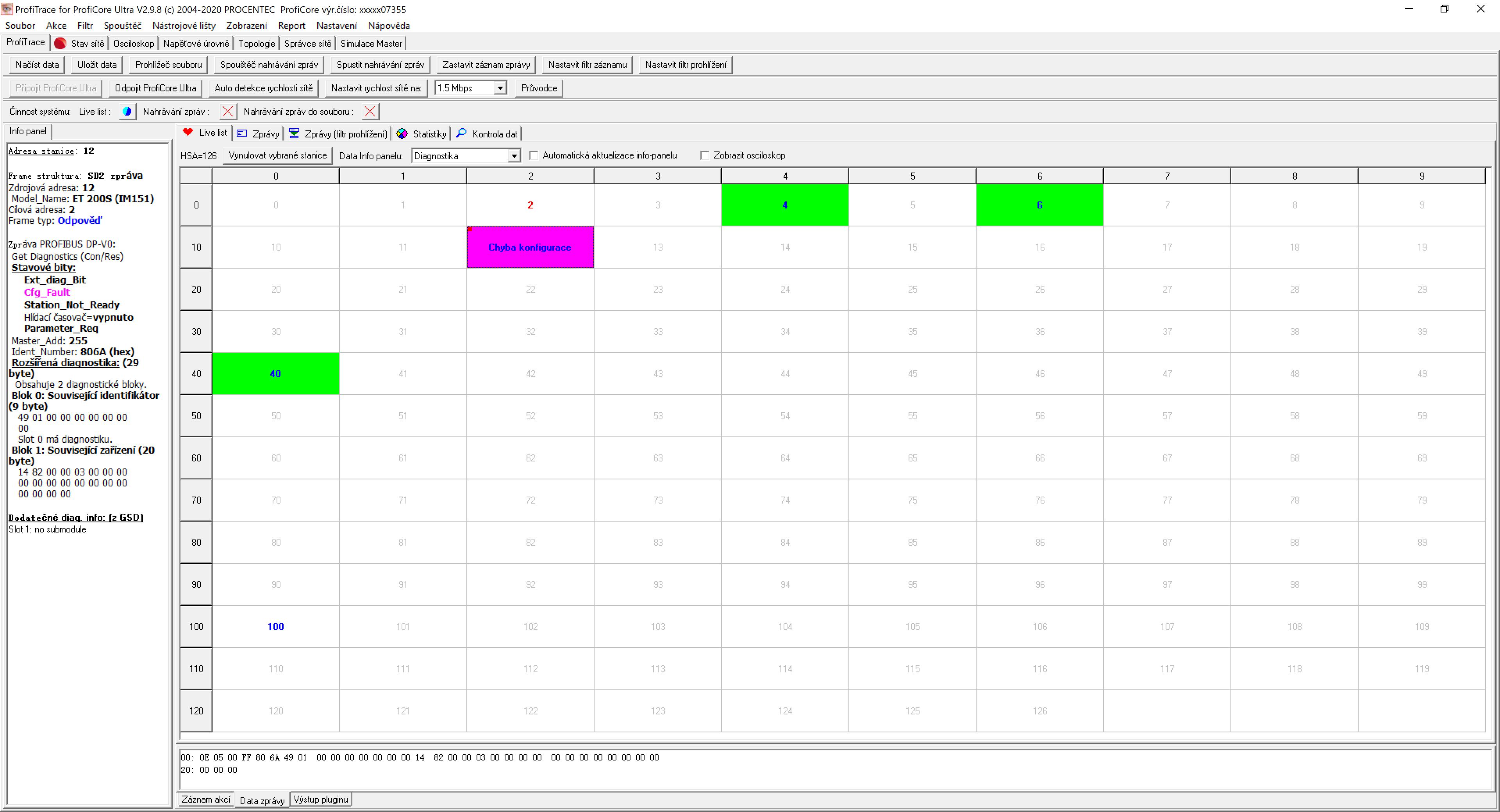 LiveList - seznam živých nalezených PROFIBUS stanic, tester ProfiTrace 2